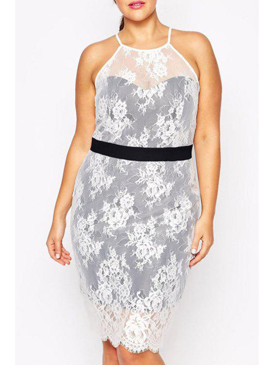 outfits Spaghetti Strap Floral Lace Sleeveless Dress - WHITE ONE SIZE(FIT SIZE XS TO M)