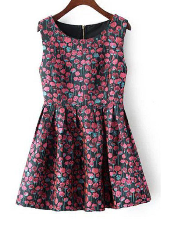 women Tiny Floral Scoop Neck Flare Sundress - BLACK S