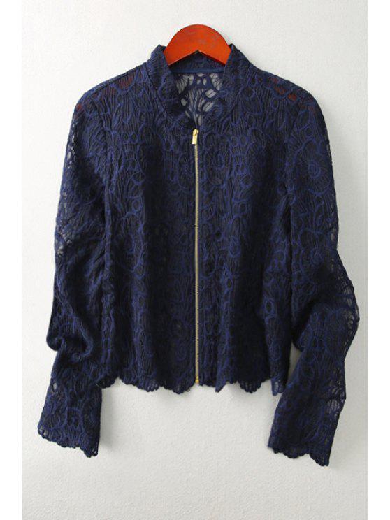 sale Openwork Lace Hook Sunscreen Coat - DEEP BLUE S