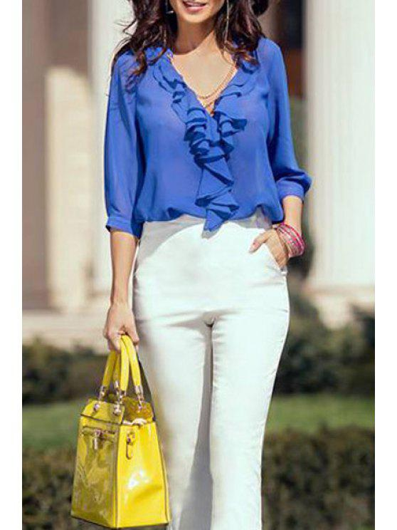 best V-Neck Flounce Splicing 3/4 Sleeve Shirt - BLUE M