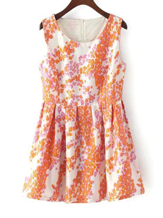 lady Orange Floral Scoop Neck Flare Sundress - ORANGE S