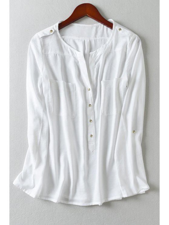 fancy Rolled Up Sleeve Button Pocket Design Shirt - WHITE S