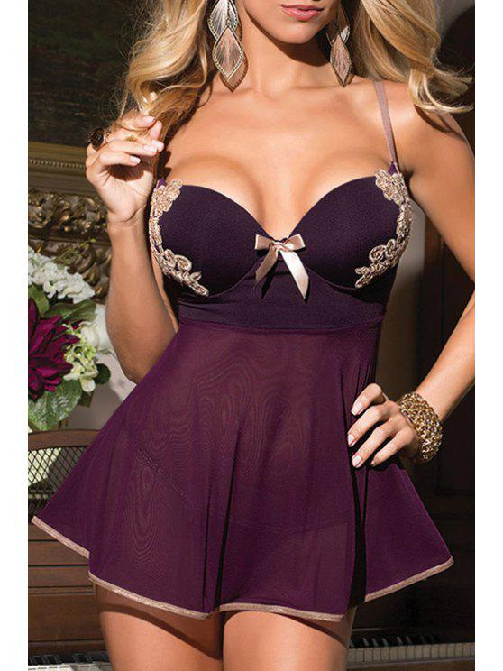 best Spaghetti Strap Lace Splicing See-Through Dress - PURPLE ONE SIZE(FIT SIZE XS TO M)