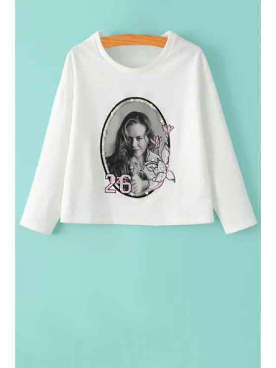 outfits Woman Print Beaded Long Sleeve Sweatshirt - WHITE S