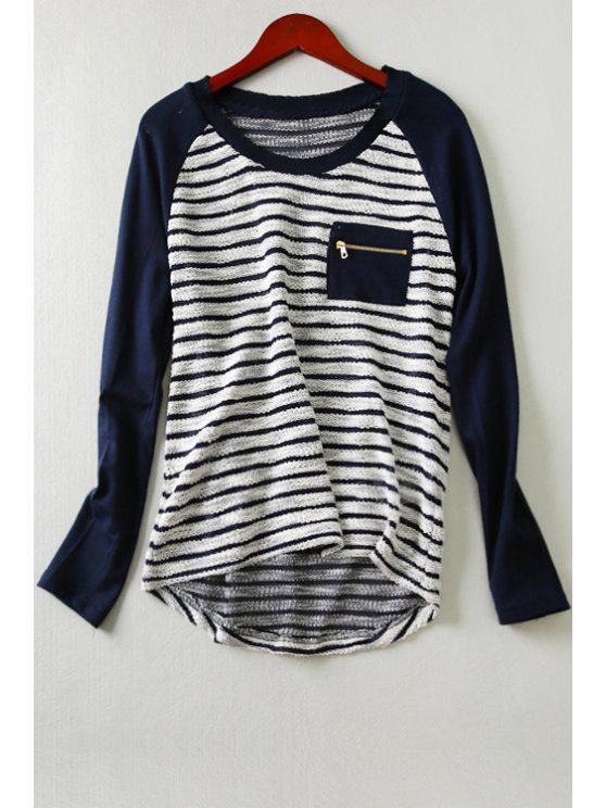 shops Long Sleeve Striped Front Pocket T-Shirt - CADETBLUE XS