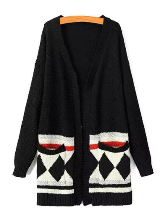 outfits Argyle Pattern V Neck Long Sleeve Cardigan - BLACK ONE SIZE(FIT SIZE XS TO M)