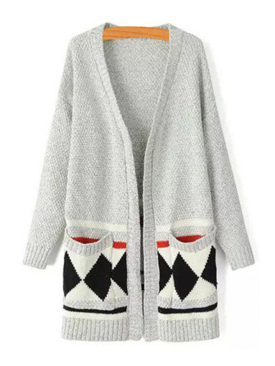 shop Argyle Pattern V Neck Long Sleeve Cardigan - GRAY ONE SIZE(FIT SIZE XS TO M)