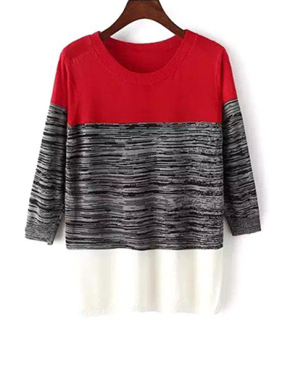 latest Color Block 3/4 Sleeve Pullover Sweater - RED ONE SIZE(FIT SIZE XS TO M)
