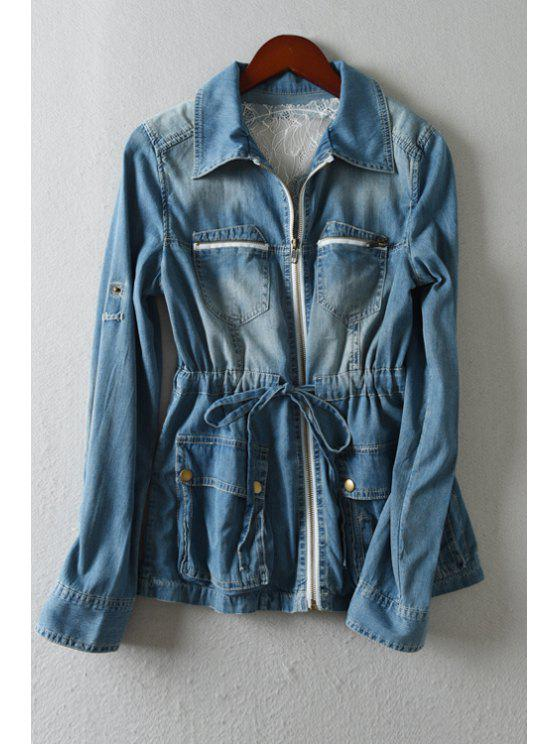 outfit Skull Skeleton Pattern Bleach Wash Denim Coat - BLUE ONE SIZE(FIT SIZE XS TO M)