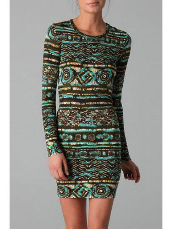shops Jewel Neck Abstract Print Long Sleeve Dress - AS THE PICTURE M
