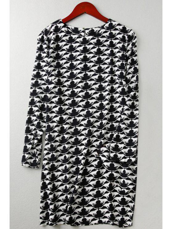 chic Long Sleeve Full Animal Print Straight Dress - WHITE AND BLACK XL