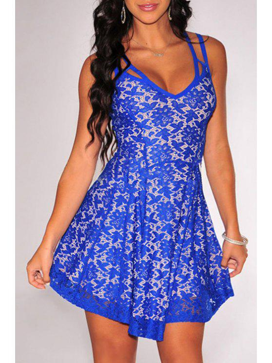 shop Spaghetti Strap Floral Pattern Lace Sleeveless Dress - BLUE ONE SIZE(FIT SIZE XS TO M)
