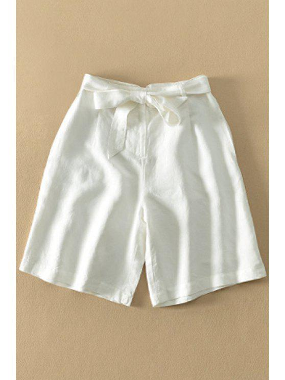 online Bowknot Embellished White Fifth Pants - WHITE S
