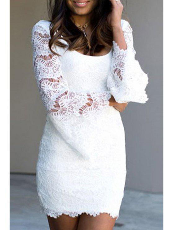 scoop neck lace see through dress white casual dresses one size fit size xs to m zaful. Black Bedroom Furniture Sets. Home Design Ideas