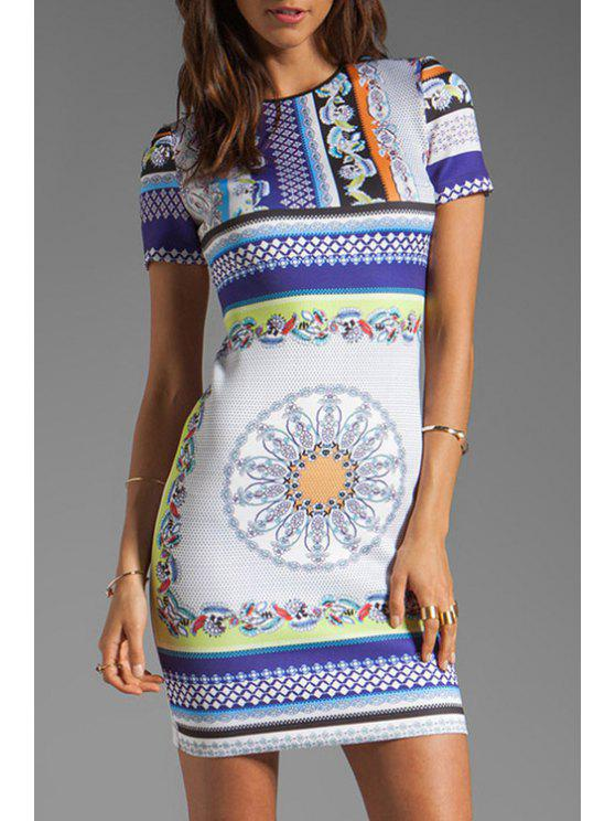 chic Jewel Neck Color Block Printed Dress - COLORMIX M