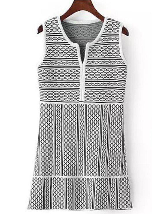fancy White Black Stripe Sleeveless Knitted Dress - WHITE AND BLACK ONE SIZE(FIT SIZE XS TO M)