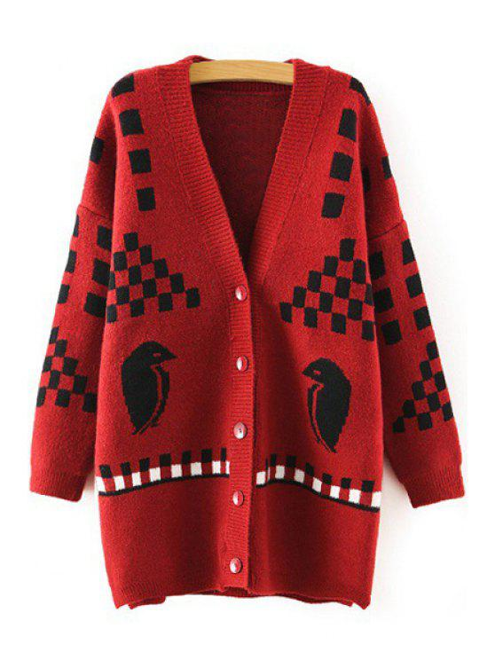 lady Bird Plaid Pattern Long Sleeve Cardigan - RED ONE SIZE(FIT SIZE XS TO M)