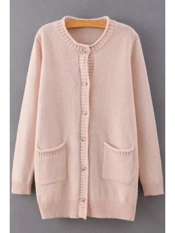 online Hemming Single-Breasted Long Sleeve Cardigan - PINK ONE SIZE(FIT SIZE XS TO M)
