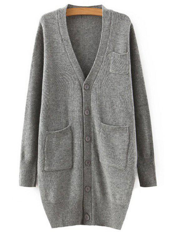 latest Single-Breasted Side Slit Long Sleeve Cardigan - GRAY ONE SIZE(FIT SIZE XS TO M)