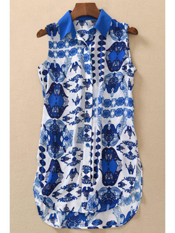 chic Blue Printed Single-Breasted Chiffon Shirt - BLUE S