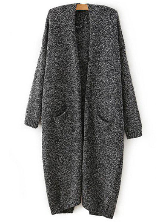 fashion Color Mixed Back Slit Long Sleeve Cardigan - GRAY ONE SIZE(FIT SIZE XS TO M)
