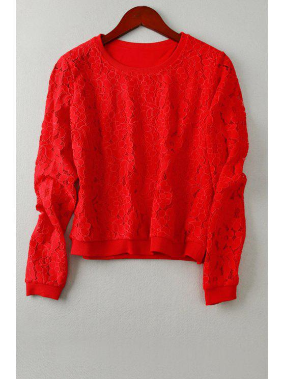 outfit Red Flower Pattern Hollow Out T-Shirt - RED S