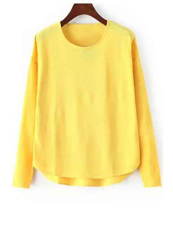 chic High Low Solid Color Long Sleeve Sweater - YELLOW ONE SIZE(FIT SIZE XS TO M)