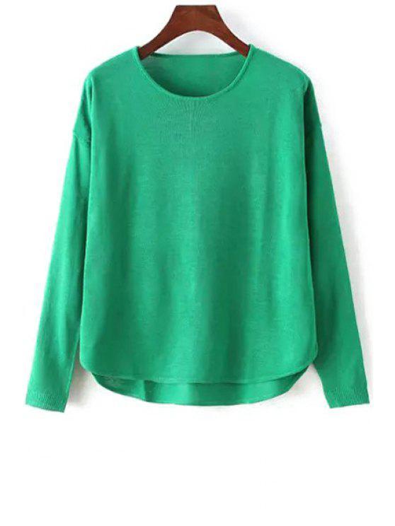 Suéter de manga larga de color sólido de alta baja - GREEN Un tamaño(Montar tam