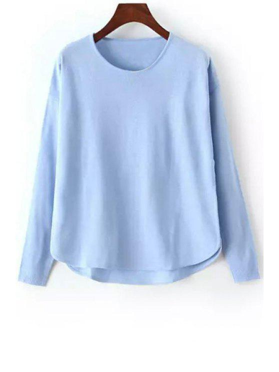 affordable High Low Solid Color Long Sleeve Sweater - BLUE ONE SIZE(FIT SIZE XS TO M)