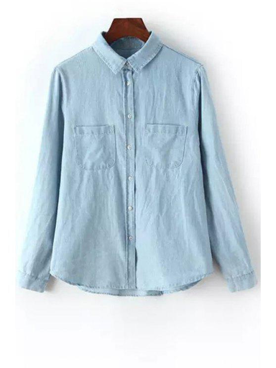sale Pocket Bleach Wash Long Sleeve Shirt - LIGHT BLUE S
