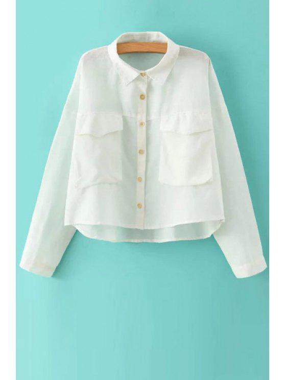 womens Pockets High Low Long Sleeve Shirt - WHITE S