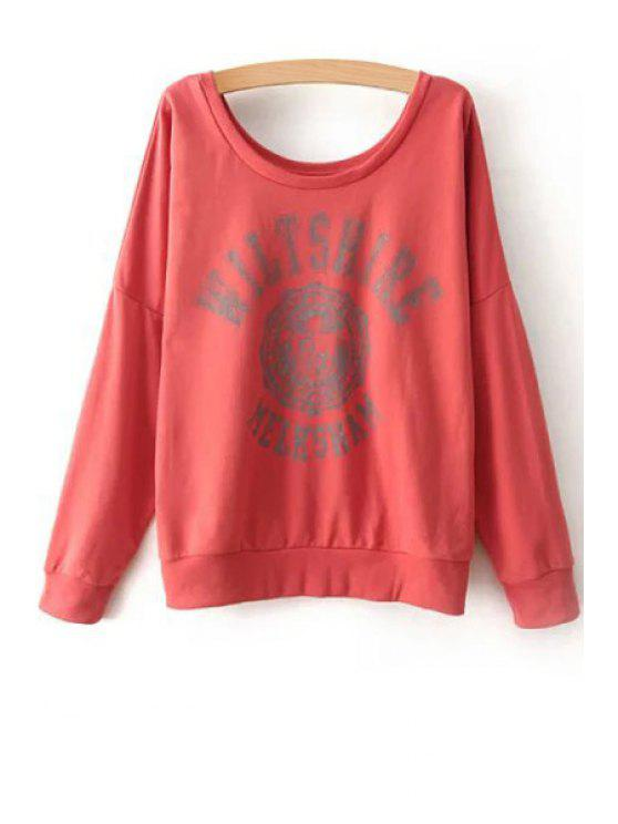 affordable Scoop Neck Color Block Letter Print Sweatshirt - DARK RED ONE SIZE(FIT SIZE XS TO M)