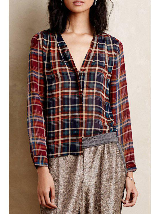 lady Plaid Print V Neck Long Sleeve Shirt - COLORMIX XS