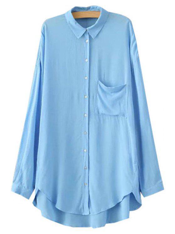 online Polo Collar High Low Pocket Shirt - BLUE XS