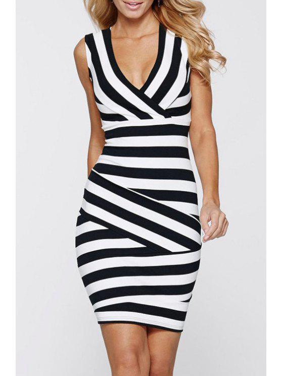 sale Stripes Plunging Neck Sleeveless Bodycon Dress - WHITE AND BLACK XS