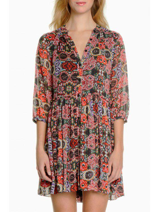 womens Flower Print V Neck Half Sleeve Dress - AS THE PICTURE XS