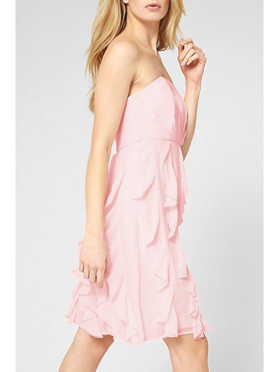 affordable Solid Color Strapless Chiffon Dress - PINK XS