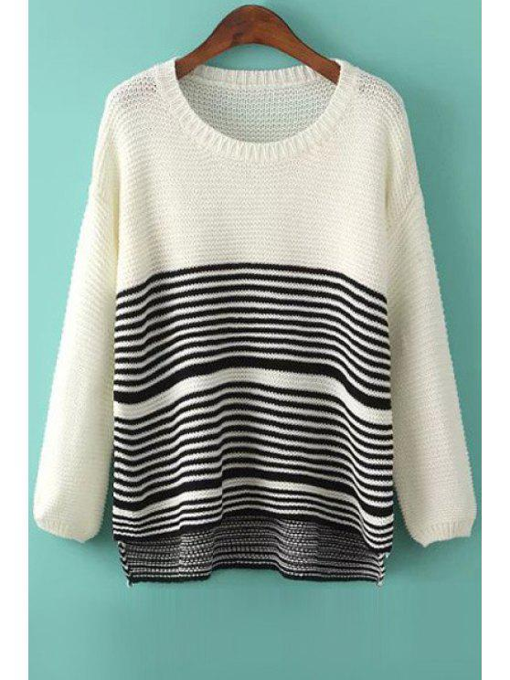 womens White Black Stripe Asymmetrical Long Sleeve Sweater - WHITE AND BLACK ONE SIZE(FIT SIZE XS TO M)