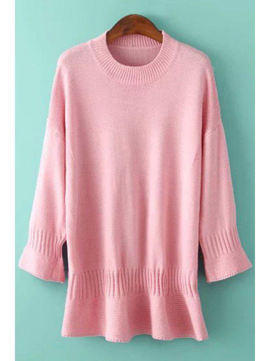 affordable Round Neck Solid Color Bell Sleeve Dress - PINK ONE SIZE(FIT SIZE XS TO M)