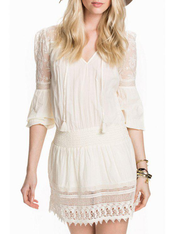 outfits Lace Spliced V Neck 3/4 Sleeve Dress - WHITE XS