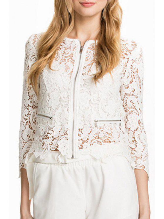 new White Lace 3/4 Sleeve Coat - WHITE XS