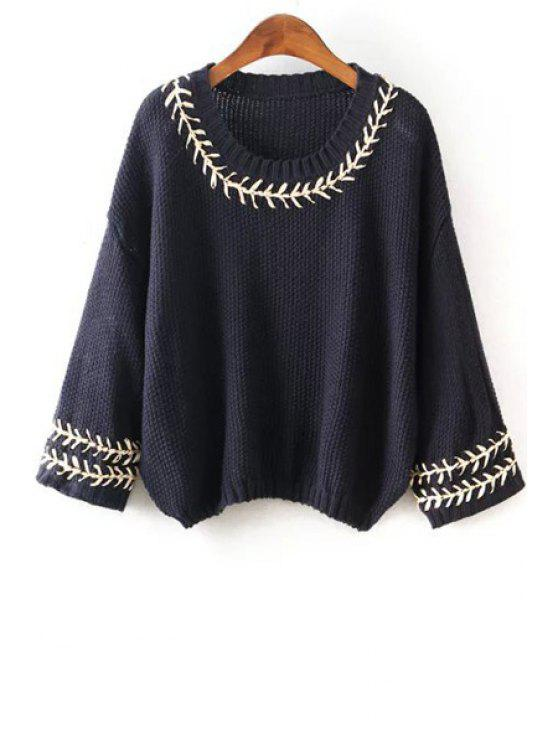 online Scoop Neck String Embellished Long Sleeve Sweater - CADETBLUE ONE SIZE(FIT SIZE XS TO M)