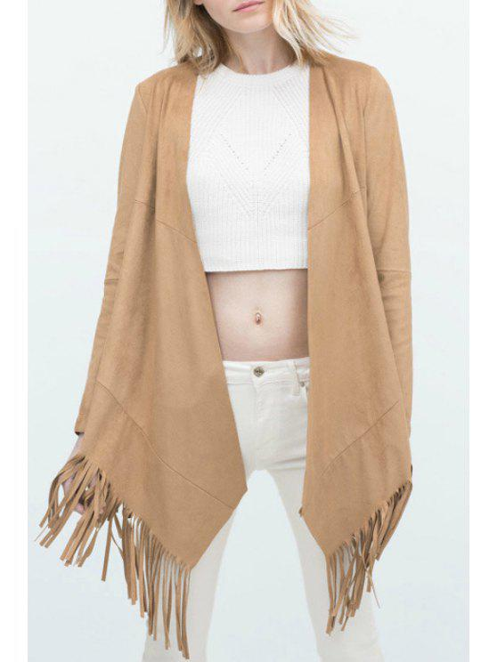outfits Solid Color Tassels Spliced Suede Coat - KHAKI S