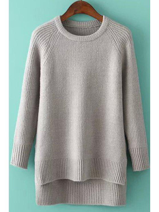 shops High Low Side Slit Long Sleeve Sweater - GRAY ONE SIZE(FIT SIZE XS TO M)