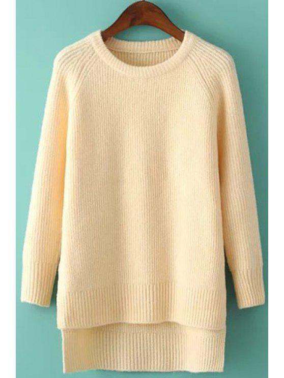 fashion High Low Side Slit Long Sleeve Sweater - APRICOT ONE SIZE(FIT SIZE XS TO M)