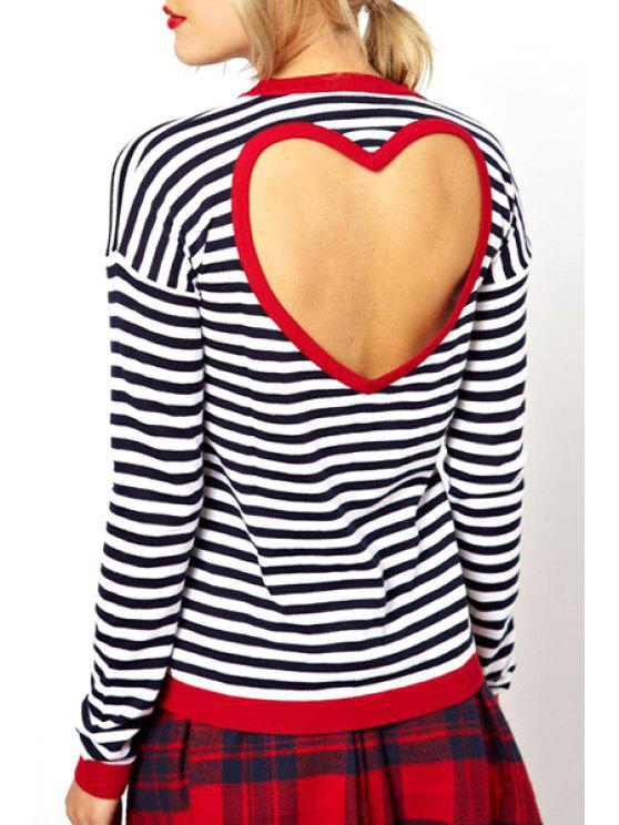 latest Stripes Backless Long Sleeve T-Shirt - WHITE AND BLACK S