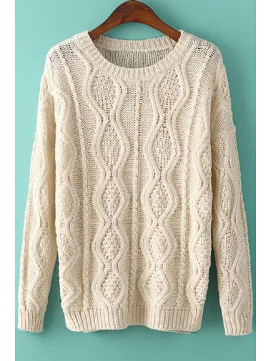 women Argyle Pattern Side Slit Long Sleeve Sweater - OFF-WHITE ONE SIZE(FIT SIZE XS TO M)