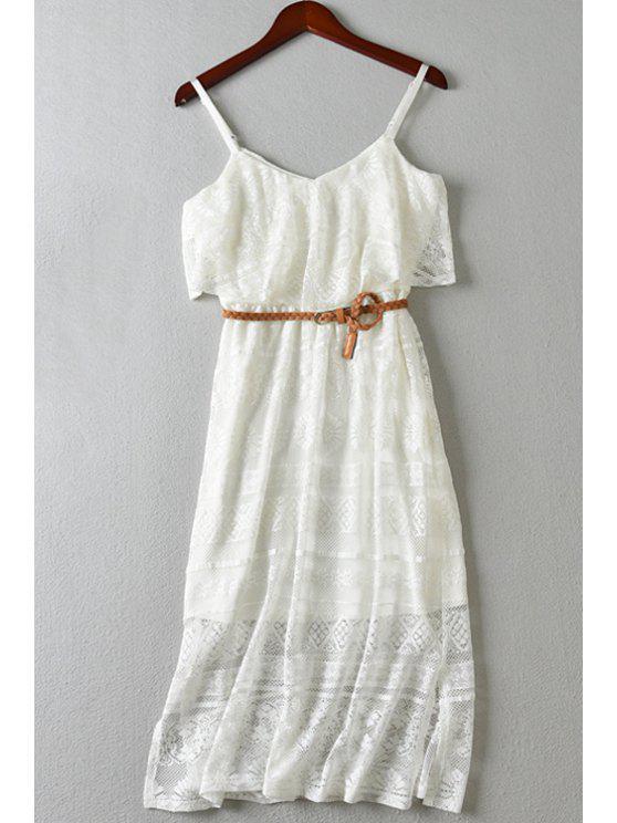 unique Solid Color Cami Lace Dress - WHITE XS