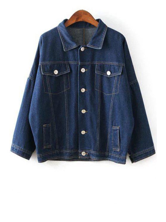fashion Pocket Batwing Denim Long Sleeve Coat - DEEP BLUE L