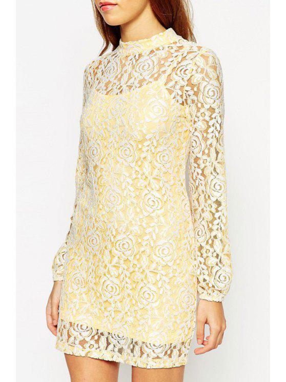 women's Openwork Lace Hook Dress and Spaghetti Strap Tank Top Twinset - YELLOW XS